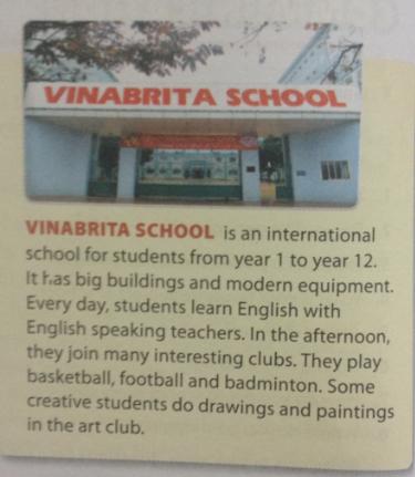 Giải bài tập Tiếng Anh mới Unit 1: My new school
